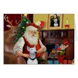 Bull terrier de Santa (blanco) Felicitaciones