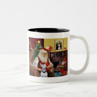 Bull terrier de Santa (blanco) Taza De Dos Tonos