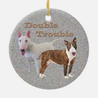 Bull Terrier Double Trouble Ornament