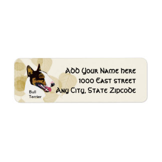 Bull terrier etiqueta de remitente