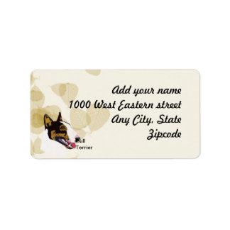 Bull terrier etiquetas de dirección