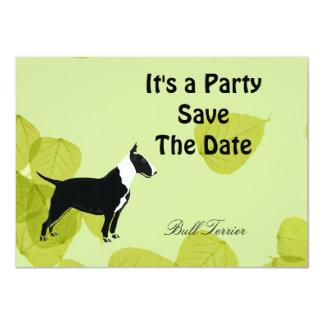 Bull Terrier ~ Green Leaves Design 4.5x6.25 Paper Invitation Card