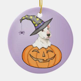 Bull terrier Halloween Adorno Navideño Redondo De Cerámica