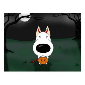 Bull Terrier Halloween Postcard