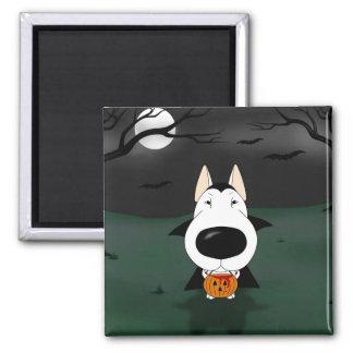 Bull Terrier Halloween Vampire 2 Inch Square Magnet