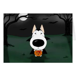 Bull Terrier Halloween Vampire Greeting Card