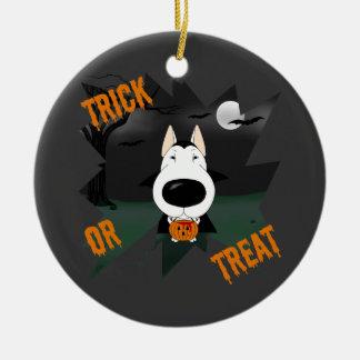Bull Terrier Halloween Vampire Double-Sided Ceramic Round Christmas Ornament
