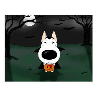 Bull Terrier Halloween Vampire Postcard