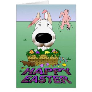 Bull Terrier Happy Easter Greeting Card