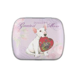 Bull Terrier Heart Mom Candy Tins