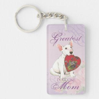 Bull Terrier Heart Mom Keychain