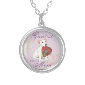 Bull Terrier Heart Mom Silver Plated Necklace