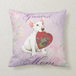 Bull Terrier Heart Mom Throw Pillow
