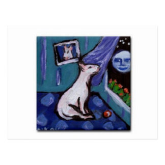 Bull Terrier mesmorized by big smiing moon Postcard