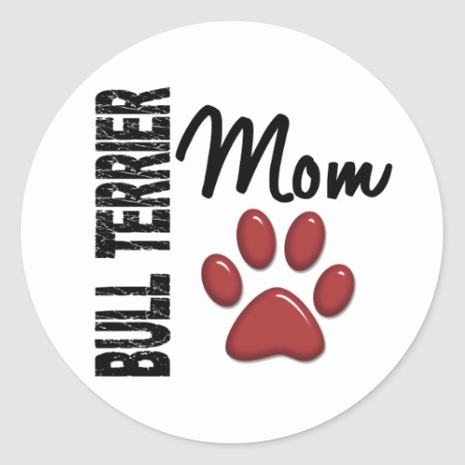 Bull Terrier Mom 2 Classic Round Sticker