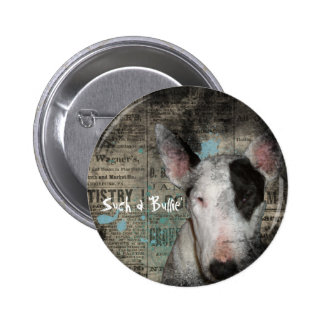 Bull Terrier News Print 2 ¼ Round Button / Pin