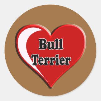 Bull Terrier on Heart for dog lovers Classic Round Sticker