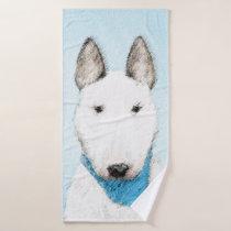 Bull Terrier Painting - Cute Original Dog Art Bath Towel Set