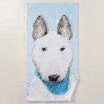 Bull Terrier Painting - Cute Original Dog Art Beach Towel