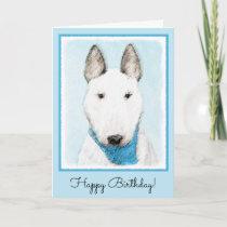 Bull Terrier Painting - Cute Original Dog Art Card