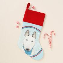 Bull Terrier Painting - Cute Original Dog Art Christmas Stocking