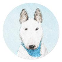 Bull Terrier Painting - Cute Original Dog Art Classic Round Sticker