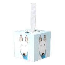 Bull Terrier Painting - Cute Original Dog Art Cube Ornament