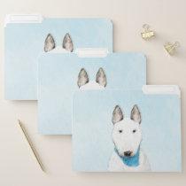 Bull Terrier Painting - Cute Original Dog Art File Folder