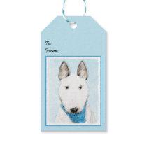 Bull Terrier Painting - Cute Original Dog Art Gift Tags