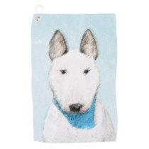 Bull Terrier Painting - Cute Original Dog Art Golf Towel