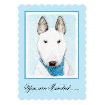 Bull Terrier Painting - Cute Original Dog Art Invitation