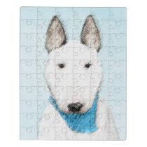 Bull Terrier Painting - Cute Original Dog Art Jigsaw Puzzle