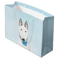 Bull Terrier Painting - Cute Original Dog Art Large Gift Bag