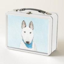 Bull Terrier Painting - Cute Original Dog Art Metal Lunch Box