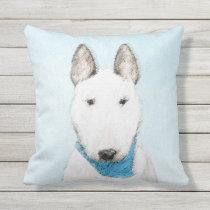 Bull Terrier Painting - Cute Original Dog Art Outdoor Pillow