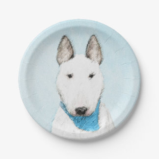 Bull Terrier Painting - Cute Original Dog Art Paper Plate