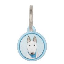 Bull Terrier Painting - Cute Original Dog Art Pet ID Tag