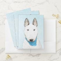 Bull Terrier Painting - Cute Original Dog Art Pocket Folder