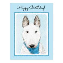 Bull Terrier Painting - Cute Original Dog Art Postcard