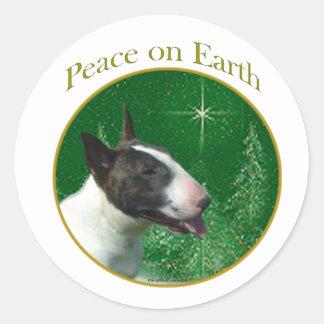 Bull Terrier Peace Classic Round Sticker