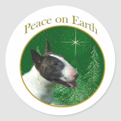 Bull Terrier Peace Classic Round Sticker