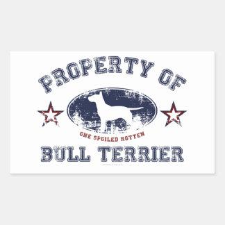 Bull terrier pegatina rectangular