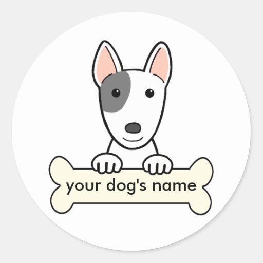 Bull terrier personalizado etiquetas redondas
