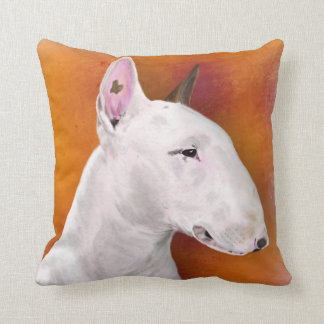 Bull Terrier Pillow on Orange Background