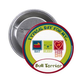 Bull terrier pin redondo de 2 pulgadas