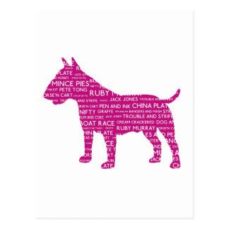 Bull Terrier Pinky Purple London Slang Cockney Postcard