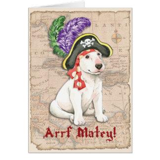 Bull Terrier Pirate Greeting Card