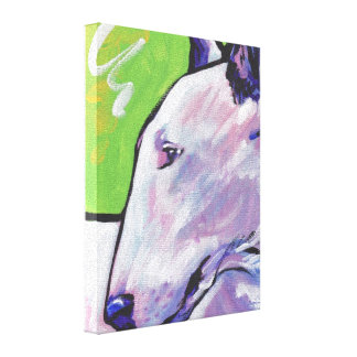 Bull Terrier Pop Art on Stretched Canvas