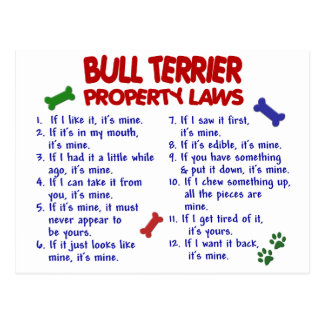 BULL TERRIER Property Laws 2 Postcard