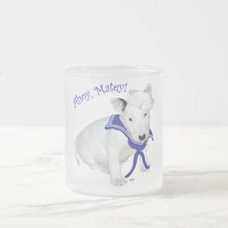 Bull Terrier Puppy Sailor 10 Oz Frosted Glass Coffee Mug